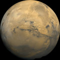Mars, Showing Valles Marineris and 3 Tharsis Volcanoes (left)